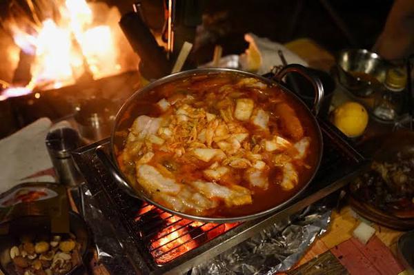 キャンプ♪     キムチ鍋     ♪