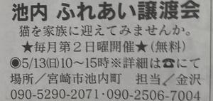 週末の譲渡会情報(5月13日)
