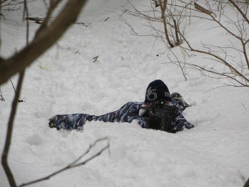 いつものフィールドで雪中戦