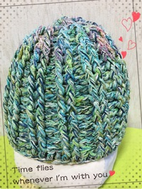 引き揃え糸のニット帽子