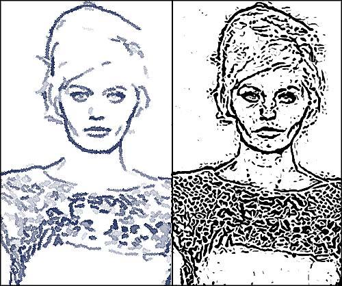 写真から、インクで描いたような線画を作成するアクション。