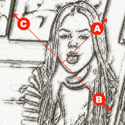3方向に「粗いパステル」を使うのに、画像の回転を使う。