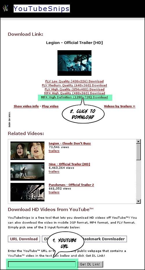 YouTube の映画予告編をHDサイズでダウンロード