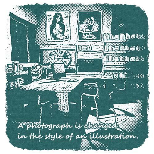 写真画像を、涼しげな?挿絵風の画像にしたい。