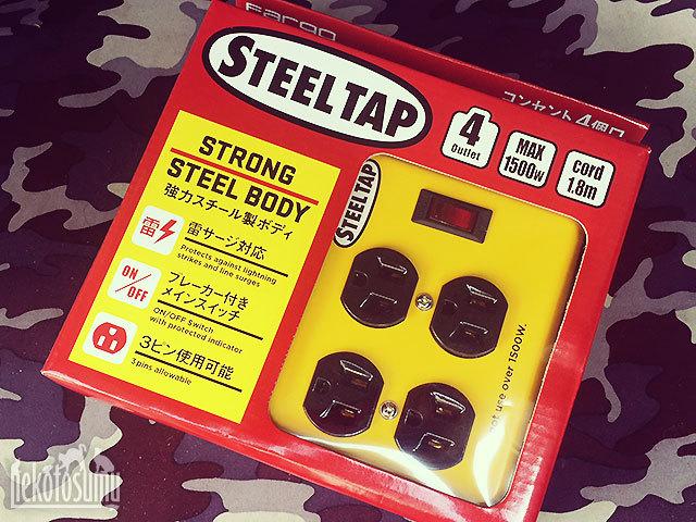 レトロアメリカン STEEL TAP 電源タップ OAタップ コンセント スイッチ おしゃれ デザイン スチールタップ 鉄 イエロー AC4個口 延長コード 雷サージガード 電源ケーブル 延長ケーブル