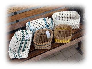 紙バンドセール中 +++ハンドメイド 石畳編みのカゴ+++