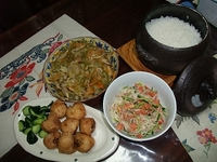 魚の甘酢・ソーメンサラダ・米屋の嫁