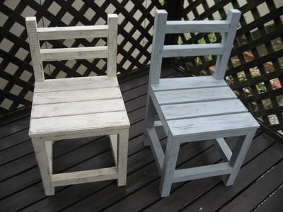 椅子♪ブルーグレーも出来ました。