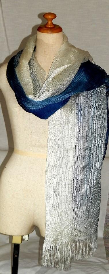 ゴージャスなインド藍染めストール