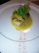 たるめ鯛のオーブン焼き 茄子と白ワインビネガーのソース添え